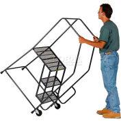 4 Step Steel Tilt & Roll Ladder Serrated Grating - TR-4-G