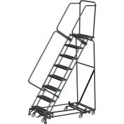 """10 Step Steel All-Directional Safety Rolling Ladder Weight Actuated Lock 24"""" Perf Step-WA-AD-103214P"""