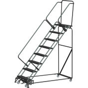 "9 Step Steel Safety Stairway Slope Rolling Ladder Weight Actuated Lock 24""W Serr. Step-WA-SW93214G"