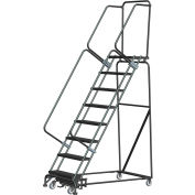 "8 Step Steel Safety Rolling Ladder W/ Weight Actuated Lock Step 16""W Perforated Step - WA082414P"