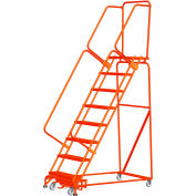 """14 Step Steel Safety Rolling Ladder W/ Weight Actuated Lock 24""""W Expanded Step Orange - WA144014X-O"""