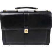 "Bond Street 367061 Leather Executive Briefcase, 15.6"" Computer Case, Black"