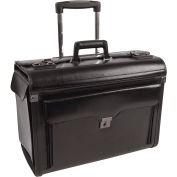 "Bond Street 546110 Leather Business Case on Wheels, 9""W x 15""H x 19""L, Black"