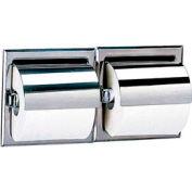 Bobrick® 600 Series Recessed Double Tissue Dispenser w/ Hoods - Satin - B6997