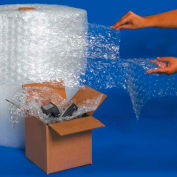 """UPSable Perforated Air Bubble Rolls, 125'L x 24""""W x 1/2"""" Thick, Clear, Pack of 2 Rolls"""