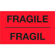 "Fragile 3"" x 5"" Bilingual Labels Fluorescent Red 500 Per Roll"