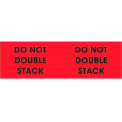 """Do Not Double Stack 3"""" x 10"""" Pallet Corner Labels Fluorescent Red 500 Per Roll"""