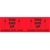 """This End Up - Handle With Care 3"""" x 10"""" Pallet Corner Labels Fluorescent Red 500 Per Roll"""