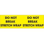 "Do Not Break Stretch Wrap 3"" x 10"" Pallet Corner Labels Fluorescent Yellow 500 Per Roll"