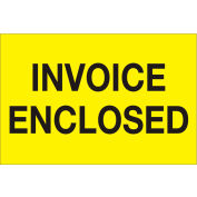 "Invoice Enclosed 2"" x 3"" Labels Yellow 500 Per Roll"