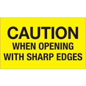 "Caution When Opening With Sharp Edges 3"" x 5"" Labels Yellow 500 Per Roll"