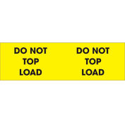 """Do Not Top Load 3"""" x 10"""" Pallet Corner Labels Fluorescent Yellow 500 Per Roll"""