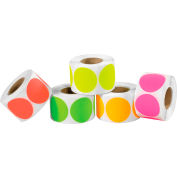 """2"""" Dia. Inventory Circles in 5 Fluorescent Colors 5000 Pack"""