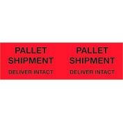 "Pallet Shipment - Deliver Intact 3"" x 10"" Pallet Corner Labels Fluorescent Red 500 Per Roll"