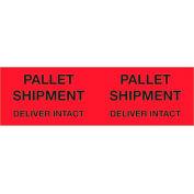 "Pallet Shipment - Deliver Intact 3"" x 10"" Pallet Corner Labels Fluorescent Red 500 Per Roll"