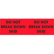 "Do Not Break Down Skid 3"" x 10"" Pallet Corner Labels Fluorescent Red 500 Per Roll"