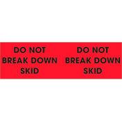 "Do Not Break Down Skid 3"" x 10"" Pallet Corner Labels Fluorescent Red 500 Per Roll"