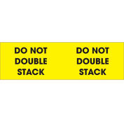 """Do Not Double Stack 3"""" x 10"""" Pallet Corner Labels Fluorescent Yellow 500 Per Roll"""