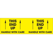 """This End Up - Handle With Care 3"""" x 10"""" Pallet Corner Labels Fluorescent Yellow 500 Per Roll"""