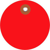 "Plastic Circle Tags 2"" Diamter Red - 100 Pack"