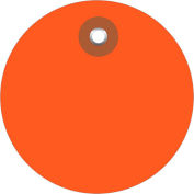 "Plastic Circle Tags 3"" Diamter Orange - 100 Pack"