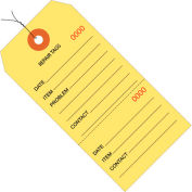 """Consecutively Numbered Repair Tags - Pre-Wired 6-1/4"""" x 3-1/8"""" Yellow - 1000 Pack"""