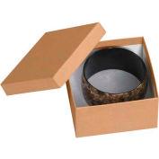 "Kraft Jewelry Boxes 3-1/2"" x 3-1/2"" x 2"" - 100 Pack"
