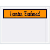 "Panel Face Envelopes - ""Invoice Enclosed"" 4-1/2 x 6"" Orange - 1000/Case"