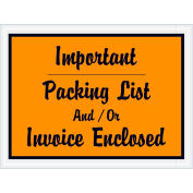 "Full Face Envelopes - ""Important Packing List and/or Invoice Enclosed"" 4-1/2 x 6"" Orange - 1000/Case"