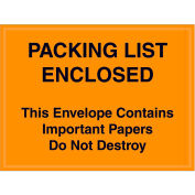 """Full Face Envelopes - """"Packing List/Important Papers Enclosed"""" 4-1/2 x 6"""" Orange - 1000/Case"""