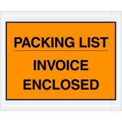"Full Face Envelopes - ""Packing List/Invoice Enclosed"" 4-1/2 x 5-1/2"" Orange - 1000/Case"