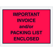 "Full Face Envelopes - ""Important Invoice and/or Packing List Enclosed"" 4-1/2 x 6"" Red - 1000/Case"