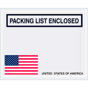 "Panel Face Envelopes - USA Flag ""Packing List Enclosed"" 4-1/2 x 5-1/2"" Red/Wht/Blue/Blk - 1000/Case"