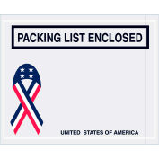 "Panel Face Envelopes - USA Ribbon ""Packing List Enclosed"" 4-1/2 x 5-1/2"" Red/White/Blue - 1000/Case"