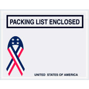 "Panel Face Envelopes - USA Ribbon ""Packing List Enclosed"" 5-1/2 x 7"" Red/White/Blue - 1000/Case"