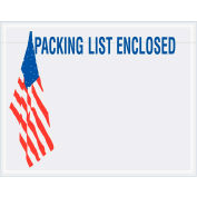 "Panel Face Envelopes - USA Flag ""Packing List Enclosed"" 5-1/2 x 7"" Red/White/Blue - 1000/Case"