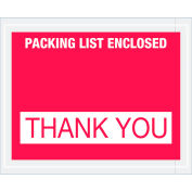 """Full Face Envelopes - """"Packing List Enclosed - Thank You"""" 4-1/2 x 5-1/2"""" Red - 1000/Case"""