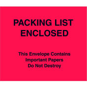 """Full Paper Face Envelopes - """"Packing List/Important Papers Enclosed"""" 7 x 6"""" Red - 1000/Case"""