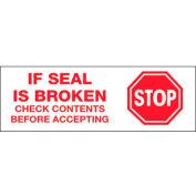 """Tape Logic® Printed Carton Sealing Tape """"Stop If Seal Is Broken"""" 2"""" x 110 Yds. White/Red - Pkg Qty 36"""