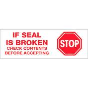 "Printed Carton Sealing Tape ""Stop If Seal Is Broken..."" 2"" x 110 Yds Red/ White - Pkg Qty 18"