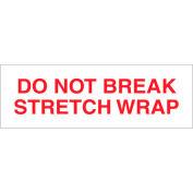 "Printed Carton Sealing Tape ""Do Not Break Stretch Wrap"" 2"" x 110 Yds Red/White - Pkg Qty 18"