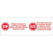 "Printed Carton Sealing Tape ""Stop / Alto"" 2"" x 110 Yds Red/ White - Pkg Qty 6"