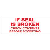 "Printed Carton Sealing Tape ""If Seal Is Broken.."" 2"" x 110 Yds Red/White - Pkg Qty 18"