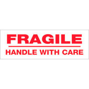 """Tape Logic® Printed Carton Sealing Tape """"Fragile Handle With Care"""" 3"""" x 110 Yds. Red/White - Pkg Qty 6"""