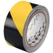 "3M™ 766 Striped Vinyl Tape 2"" x 36 Yds 5 Mil Black/Yellow - 2/PACK"