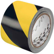 "3M™ 766 Striped Vinyl Tape 3"" x 36 Yds 5 Mil Black/Yellow - 2/PACK"