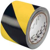 "3M™ 766 Striped Vinyl Tape 3"" x 36 Yds 5 Mil Black/Yellow - 2/PACK"