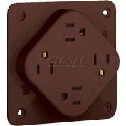 Bryant 1254B QUADPLEX®Receptacle / 15A / 125V / Brown