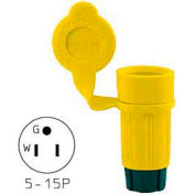 Bryant 14W33BRY Watertight Straight Blade Plug, 20A, 125V, Yellow