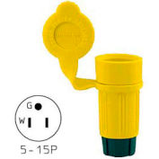 Bryant 14W47BRY Watertight Straight Blade Plug, 15A, 125V, Yellow